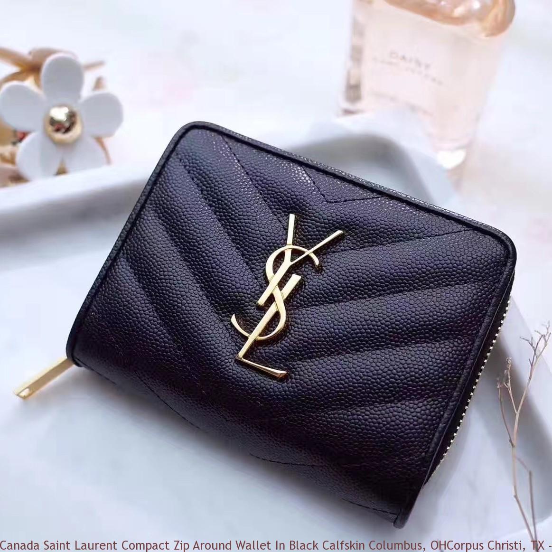 e78cf0c3da7c Canada Saint Laurent Compact Zip Around Wallet In Black Calfskin ...