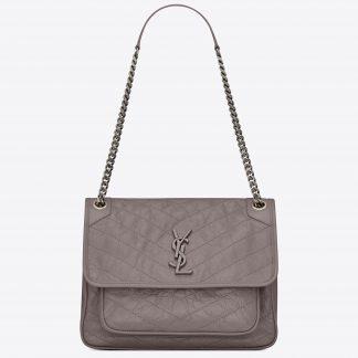 f92075c29ab4 ... Cheap Wholesale Saint Laurent Medium Niki Bag In Grey Crinkled Leather  Hialeah