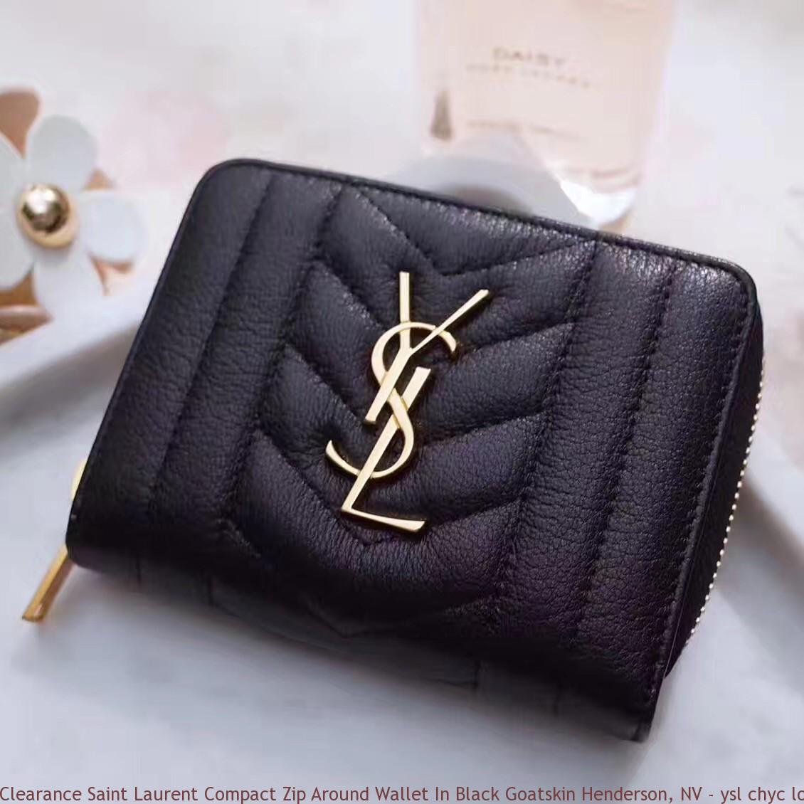 18113224ea06 Clearance Saint Laurent Compact Zip Around Wallet In Black Goatskin ...