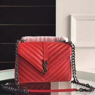 8c3c4a212e4f You re viewing  Clearance Saint Laurent Medium College Bag In Red Goatskin  Leather Honolulu
