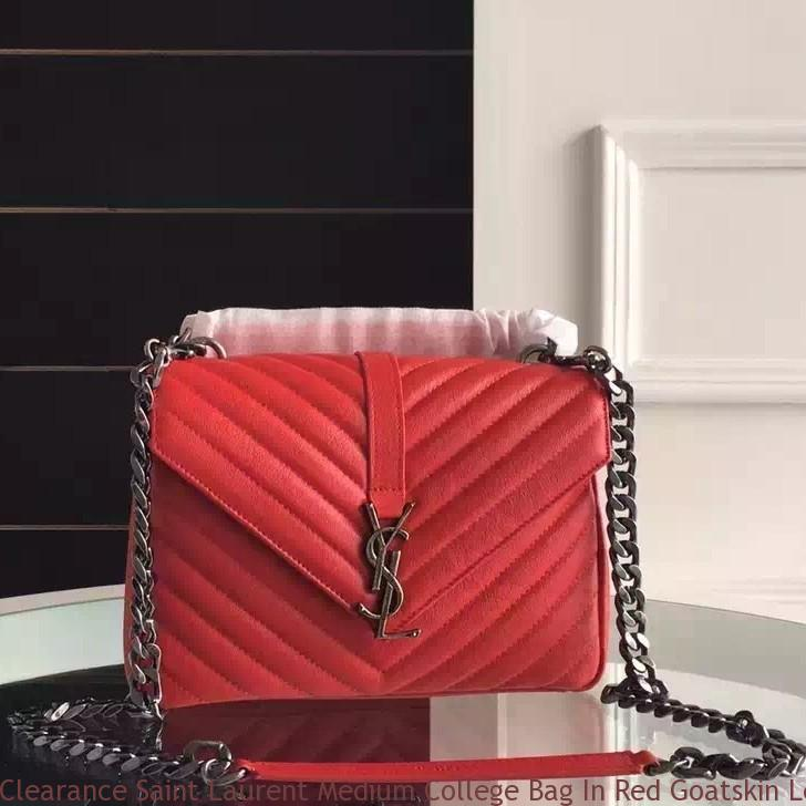 Clearance Saint Laurent Medium College Bag In Red Goatskin
