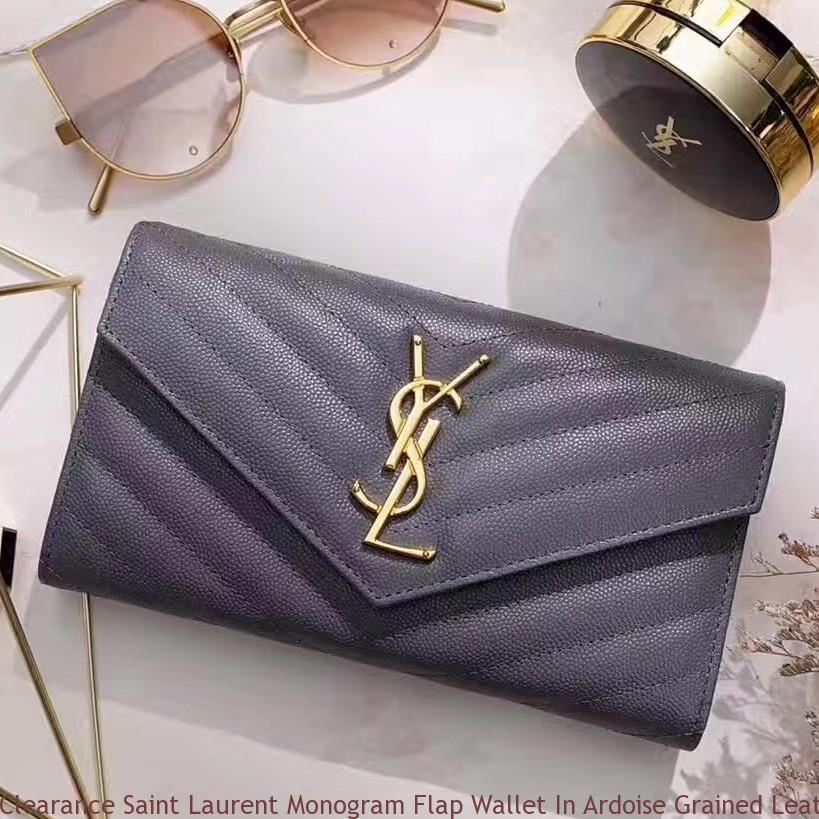 Clearance Saint Laurent Monogram Flap Wallet In Ardoise