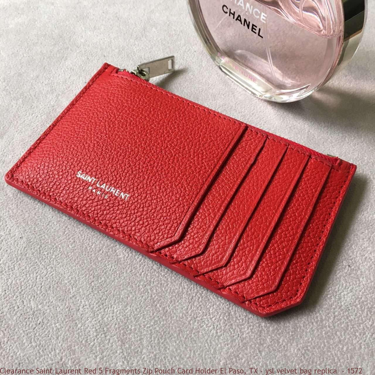 Clearance Saint Laurent Red 5 Fragments Zip Pouch Card