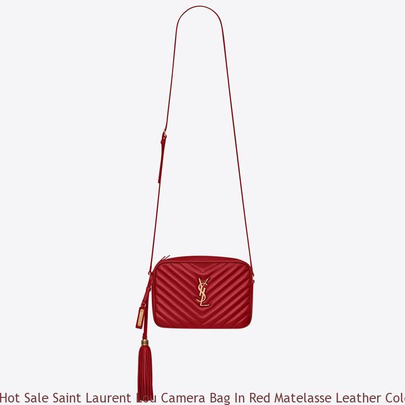Hot Sale Saint Laurent Lou Camera Bag In Red Matelasse