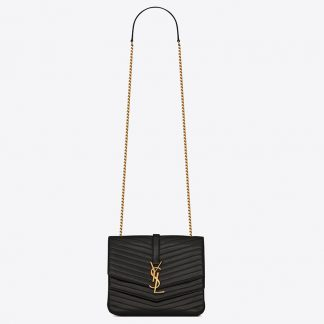 Us Saint Laurent Kate Chain Tassel Wallet In Black Leather