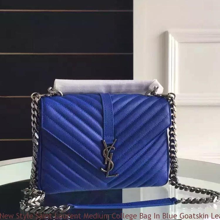 New Style Saint Laurent Medium College Bag In Blue