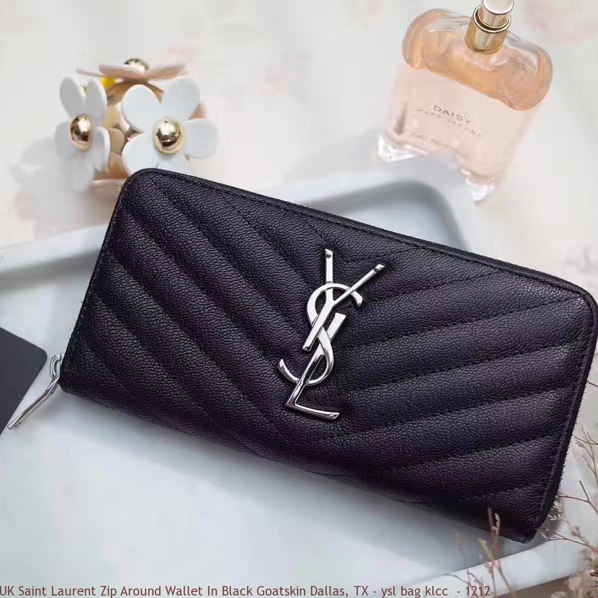 Uk Saint Laurent Zip Around Wallet In Black Goatskin